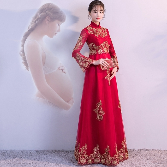 dc48a46f7 Red Pregnant Bride Waist Wedding Gowns Traditional Chinese Clothes For Women  Dress Modern Cheongsam Qipao Oriental Style Dresses