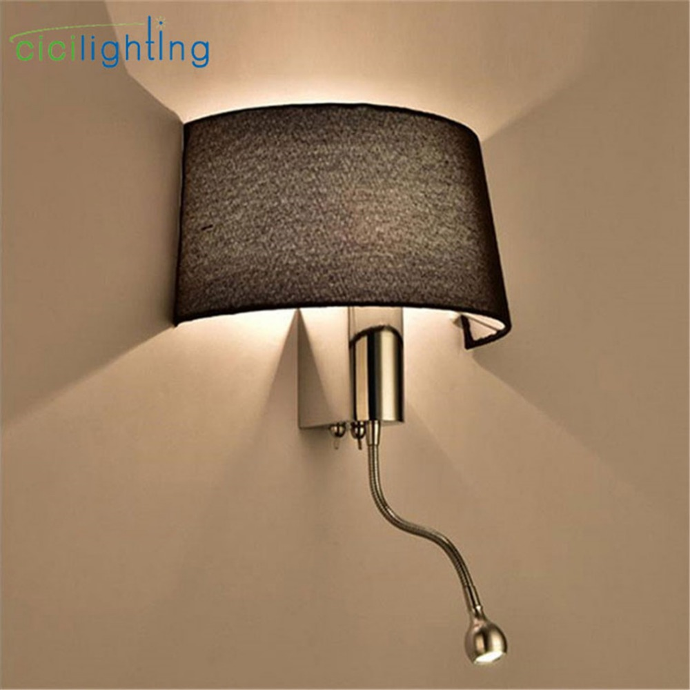 Modern Fabric Shade Wall Sconces LED Living Room Bedroom Wall Lamp with on off Switch Lighting