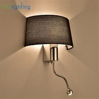 Modern Fabric Shade Wall Sconces LED Living Room Bedroom Wall Lamp with on off Switch Lighting E27 art decor stairway entry lamp