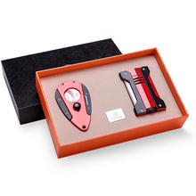 Cigar lighter two-piece suit stainless steel sharpness portable cigar cutter windproof lighter CL-0912 chairman mao pattern stainless steel plastic windproof oil lighter red