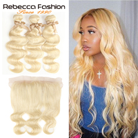 Rebecca 613 Blonde Bundles With Frontal Malaysian Remy Blonde Human Hair Body Wave 3 Bundles With Lace Frontal Closure