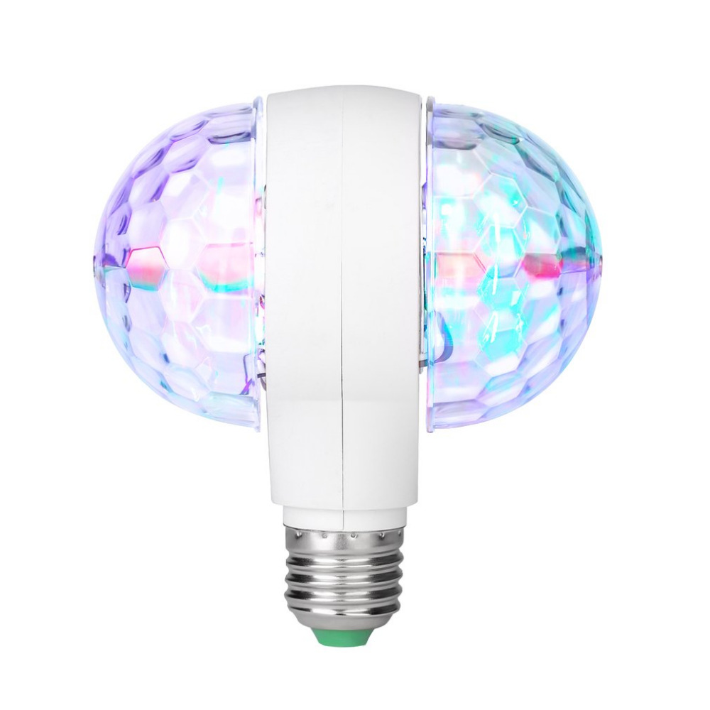 LED 6W Rotating Bulb Light With Dual Head Magic Stage Disco Lamp Rotating Double-headed LED Stage Light Colorful Light Bulb