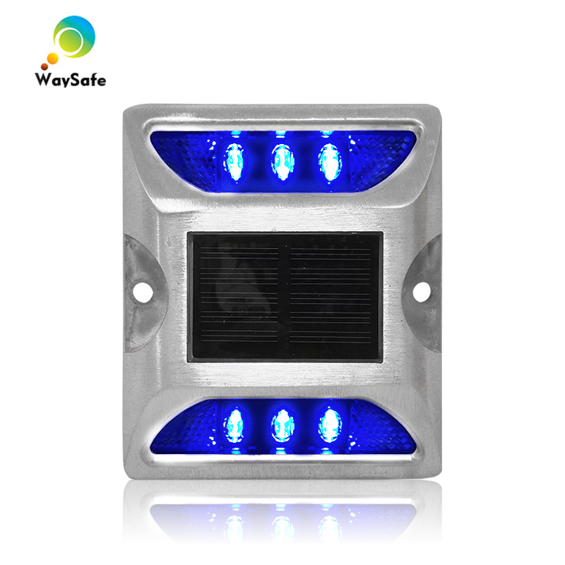 High Brightness Blue Epistar LED Aluminum With 3M Reflective Solar Road Stud Marker