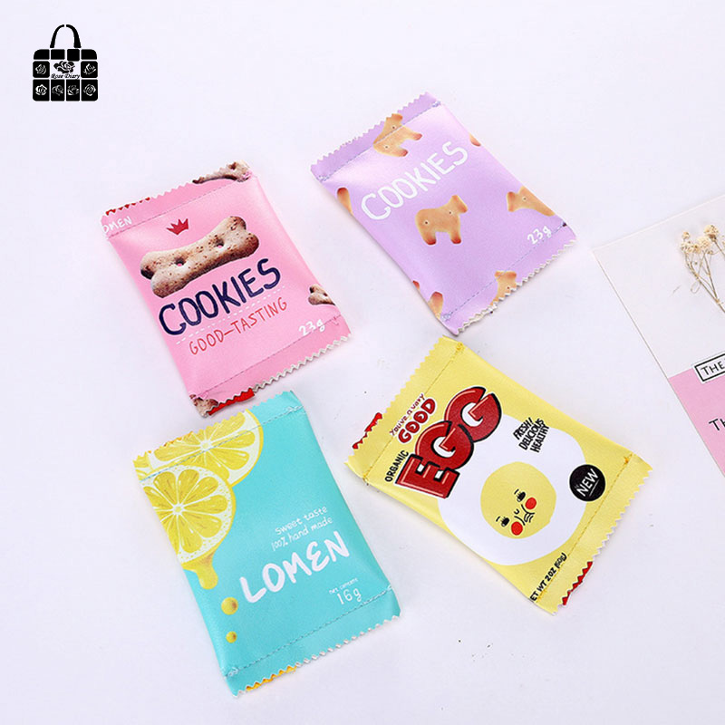 ROSEDIARY fashion Creative fun snacks biscuit pu Waterproof zipper women zero wallet child girl boy purse, lady coin bags wallet