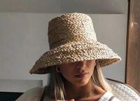 01904-HH7330 Handgemachte bast weben Hepburn stil Lampenschirm form dame flache eimer hut Im Freien frauen urlaub strand kappe