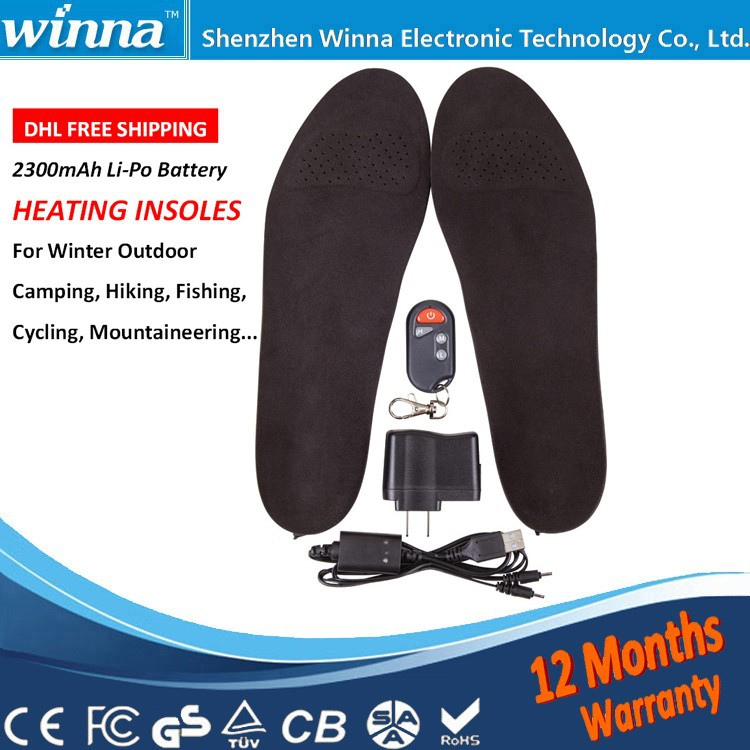 ФОТО 2300mAh Wireless Winter Electric Heated Insole with Remote  type   41-46 Large Size Material EVA Solid Black