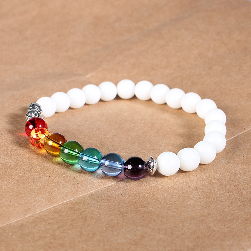 ISINYEE Fashion Candy Color Elastic Rope 7 Chakra Bracelets For Women Men Handmade Elephant Natural Stone Bracelet Jewelry 3
