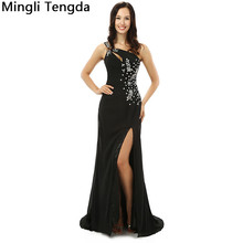 Black Hand-bead Evening Dresses Long One Shoulder Backless Evenging