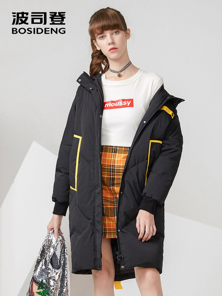 BOSIDENG winter   down   jacket for women Long thick   down     coat   hood hat detachable loose casual outwear waterproof B70142532