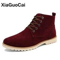 XiaGuoCai High Top Hombres Zapatos Flock Casual Botines de Los Hombres Masculinos Británicos Martin Botas Otoño Primavera Botas de Postre