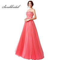 Elegant Charming Coral Evening Dresses With Sheath Lace Up Back Prom Party Gowns Strapless Tulle Floor Length Crystal SD207