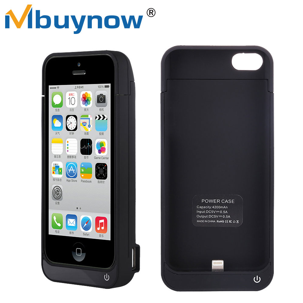 Battery Charger case for iPhone 5s Rechargeable 4500mAh Powerbank External Backup Battery with Stand Charging for