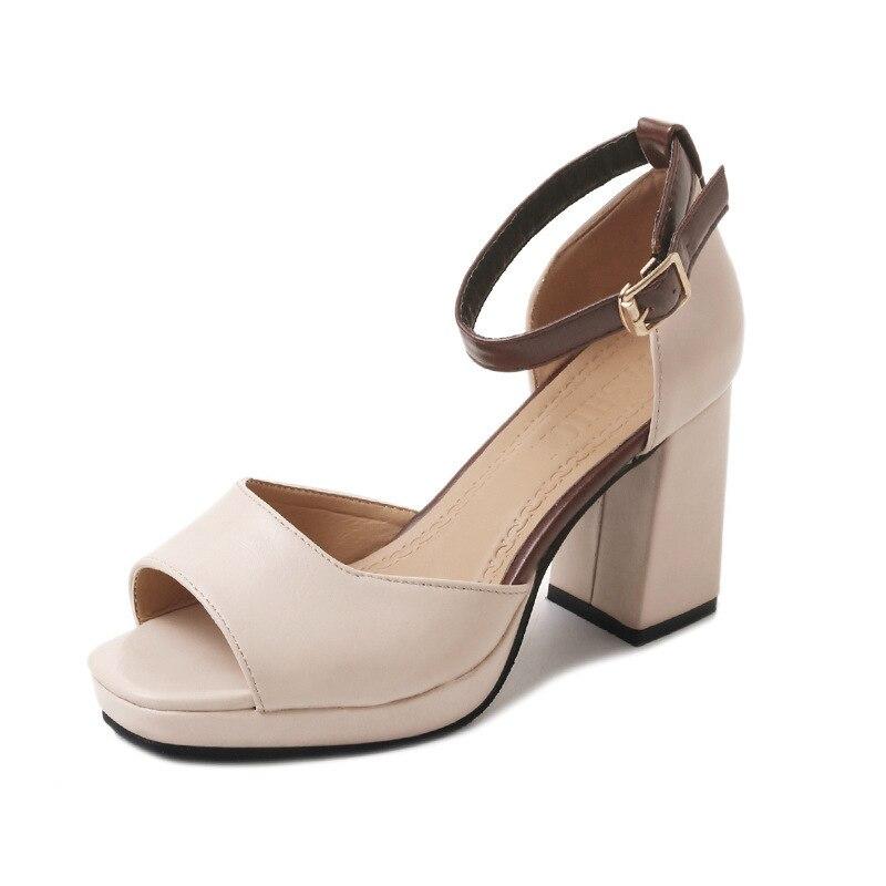 1d358b7a29f Salvaje negro 2018 Tacones Romanos Nueva Con Sandalias Mujer caqui Beige  Altos Hebilla Gruesas Palabra De Boca Pescados Zapatos ...