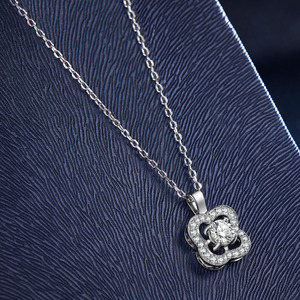 Image 4 - Fashion Flower Crystal Silver Pendant Necklaces for Women 925 Silver Chain Wedding Jewelry Lover Gift