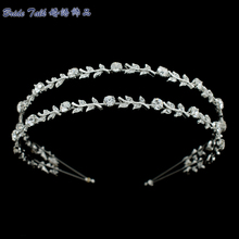 Leaf Crystals Rhinestone Head band Bridal Wedding Hair Band Women Pageant Hair Jewelry  Headpiece XBY002