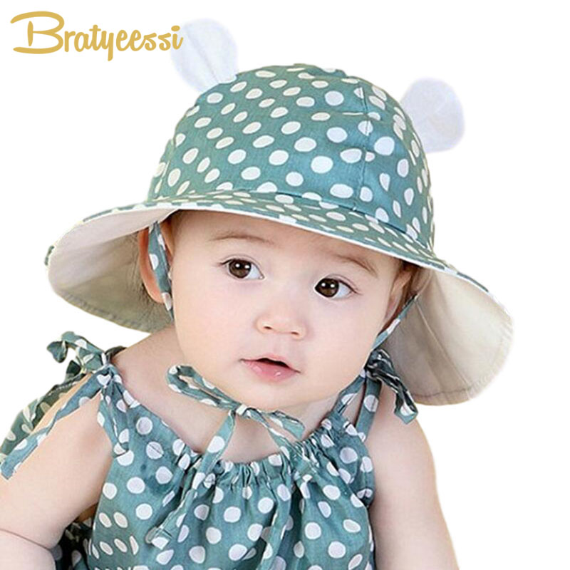 Lovely Baby Hats with Ears Dot Cotton Infant Baby Cap Summer Kids Sun Hat for 1-3 Years  ...