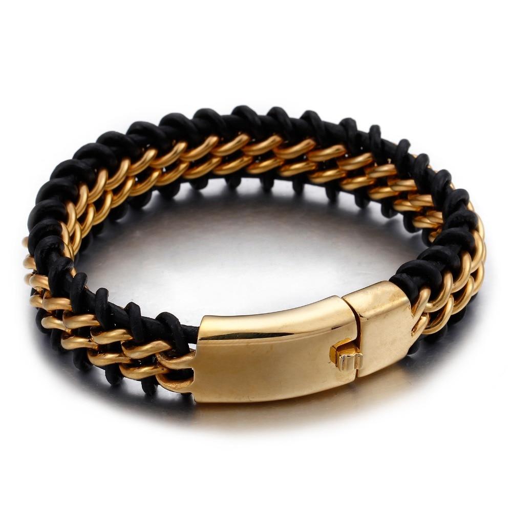 Hot Selling Silver/Gold Stainless Steel Link Chain Leather Bracelet Men 18MM Wide Men's Bracelet & Bangle Charm Male Jewelry цена