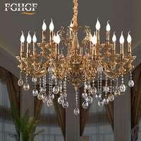 Candle Bulbs Chandeliers Light Luxury Lustres Bronze Color Chandelier Lighting Hanging Lamp Bedroom Living Room Restaurant