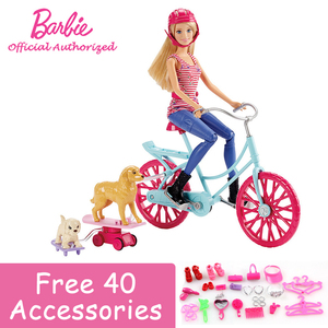 Funny Barbie Doll Toy And Friend Pet Dog Riding Girl With Beautiful Bicycle Barbie Boneca Set Mode CLD94