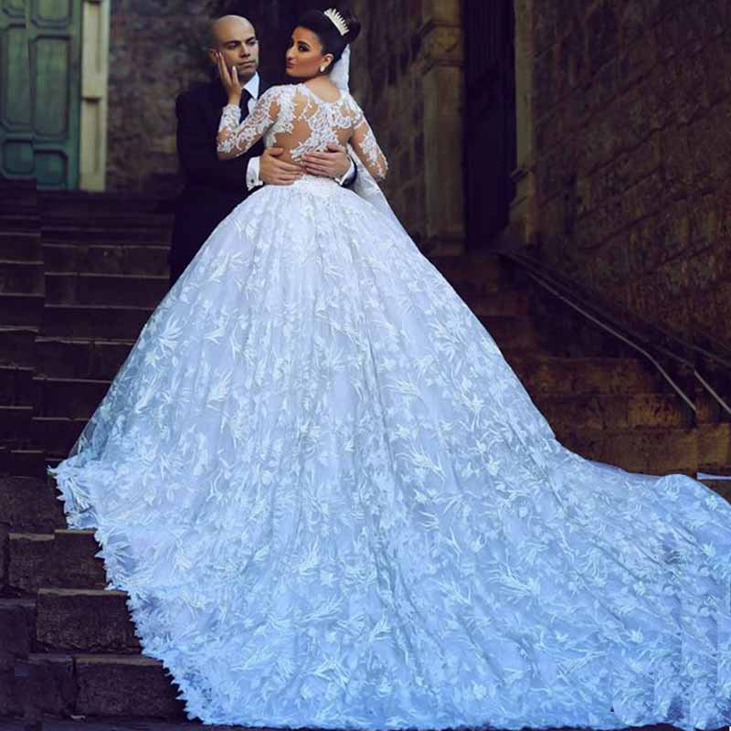 Buy Elegant Full Lace Wedding Dress With Train Long Sleeves
