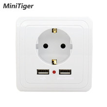 Minitiger Smart Home Wall Power Socket 16A EU Standard Outlet With 2400mA Dual USB Charger Port for Mobile Super Power(China)