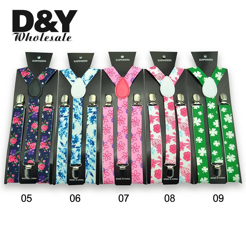 New Arrivel 5 Colors Suspenders Women Men Braces Y-shaped Colorful Flowers 2.5 Cm Width Casual Suspender Free Shipping