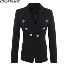 High Quality Women Blazers And Jackets European Fashion 2017 New Double Breasted Black White Office Suits Blazer Feminino
