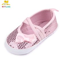 Spring Autumn Butterfly-knot Bling Design Soft Sole Baby Girl Leisure Shoes For 0-12 Months