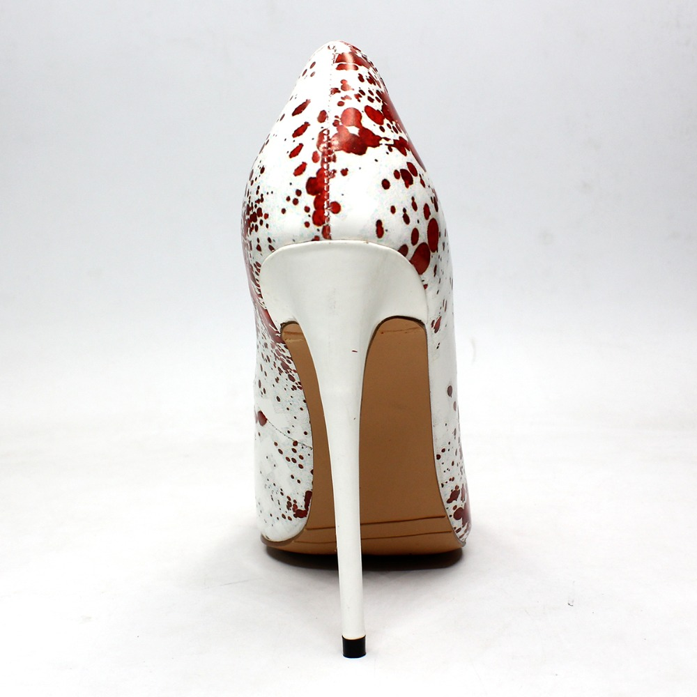 Ladies Pointed Toe High Heels PU Pumps Red dots Aiyoway Sexy Women Shoes Party Wedding Shoes Autumn Spring Slip On White Shoes in Women 39 s Pumps from Shoes