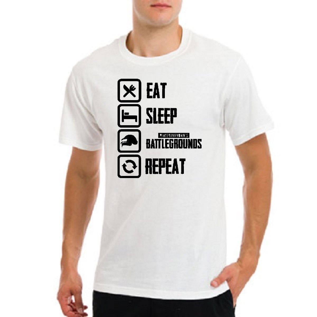 8155ef37 Players unknown battlegrounds pubg eat sleep repeat gamer playersunknown t- shirt New T Shirts Funny ...