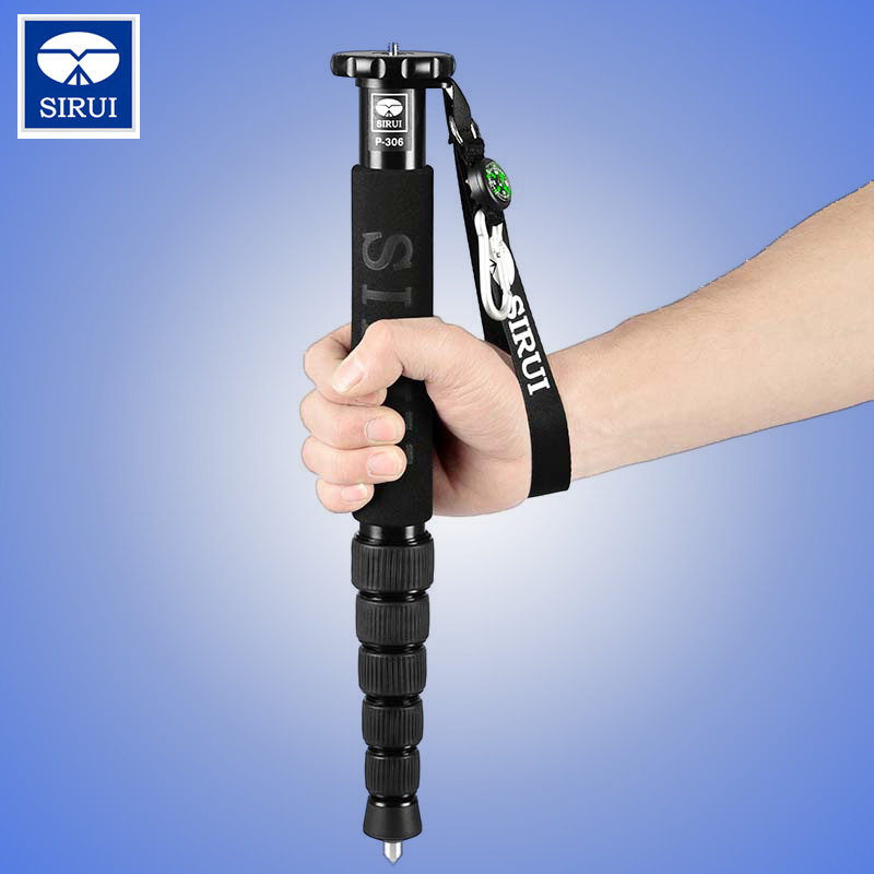 Sirui P306 P-306 Monopod Professional Aluminum Portable Tripod For Camera 6 Section Carrying Bag Max Loading 8kg Free Shipping sirui a 1205 a1205 tripod professional carbon fiber flexible monopod for camera with y11 ball head 5 section free shipping