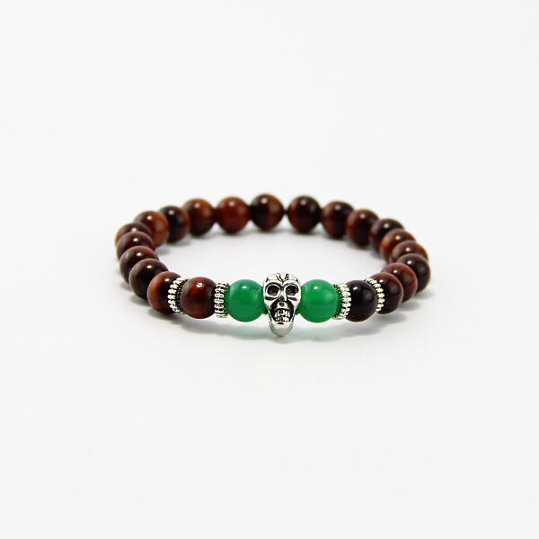 BB0207 2017 best-selling 8mm Red Dragon Tiger Eye and green Natural stone bracelet, skull bracelet gift for men and women ! new men bracelet 8mm tiger eye stone
