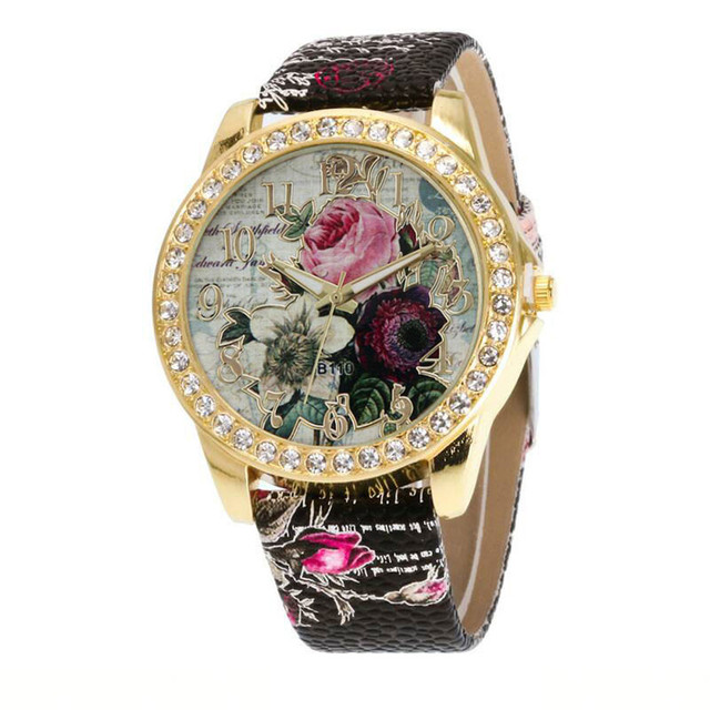 Ladies Bracelet Watch NEW Relogio Feminino Clock Rose Pattern PU Leather Band An