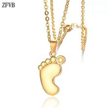 ZFVB Fashion Cute Footprints Necklaces Women Stainless Steel Gold Silver color Clavicle Chain & Pendants Jewelry Gift