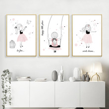 Be Fast Print Cartoon Wall Art Canvas Painting Pink Girl Poster Room Decor Pictures