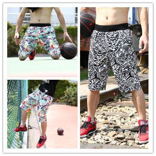 0834e787a87 High Quality Fitness Print Jogger Trousers Black L-3XL 2015 New Arrival  Real Jordan Shorts Basketball Running Sport Men Shorts