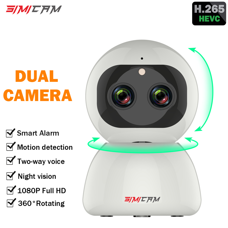 Wireless WiFi Camera 1080p ip camera Smart H.265 ptz Dual lens Zoom Full HD Night vision Home Security Surveillance CCTV Network