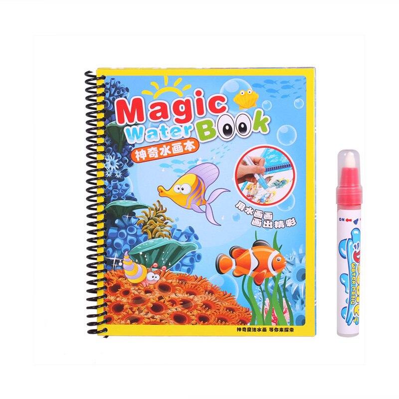 Magic Water Drawing Baby Boek met Pen Educatief Speelgoed Baby Dieren Schilderen Schrijven Doodle Doek Kids Boek Tekentafel - 5
