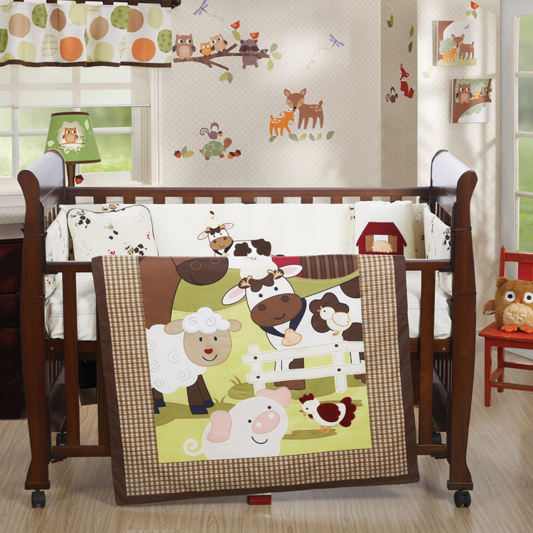 4PCS embroidery Cotton Crib Baby Bedding Set Nursery Bedding Sets Free Shipping,include(bumper+duvet+sheet+pillow) home textile washable cotton fitted sheet 4pcs bedding set
