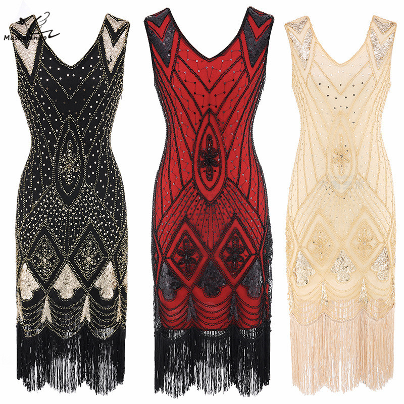 36fc328154f5b US $22.38 30% OFF|Women 1920s Gatsby Charleston Inspired Sequin Fringe  Flapper Dress Beaded Art Deco Dress V Neck Sleeveless Long Party Costume-in  ...