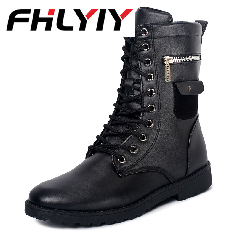 New Men Boots Pu Martin Autumn Winter High Top Ankle Boots Western Fashion Motorcycle Dress Boots Cowboy Black Lace Up Men Shoes 2016 new arrival men winter martin ankle boots pu leather high quality fashion high top shoes snow timbe bota hot sale flat heel