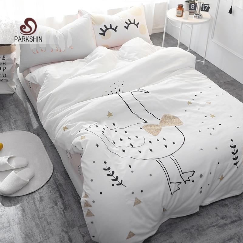 ParkShin Ložní souprava Bílá Swan Děti Roztomilý Bedspread - Bytový textil