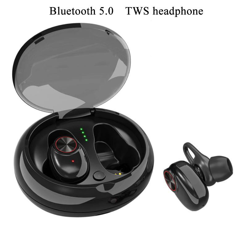 2018 new mini TWS Binaural stereo Waterproof and sweat-proof bluetooth5.0 wireless earphone with Charging box for IOS android rockspace eb30
