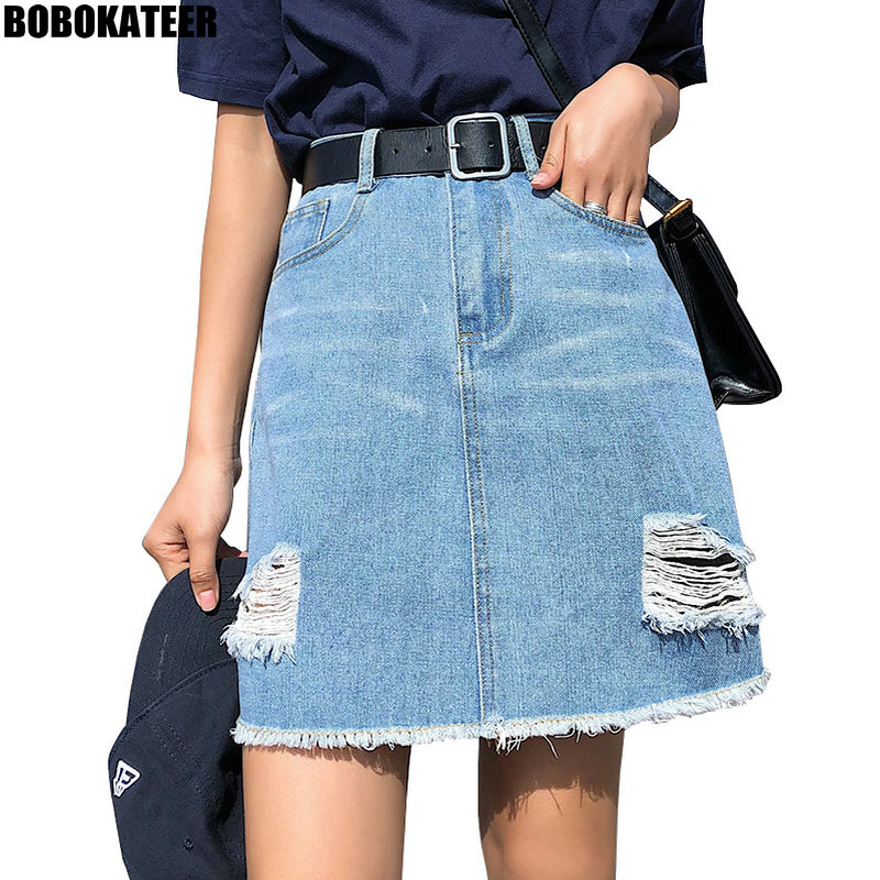 BOBOKATEER Plus Size <font><b>Denim</b></font> <font><b>Skirt</b></font> Women <font><b>Skirts</b></font> Womens Summer Sexy Mini <font><b>High</b></font> <font><b>Waist</b></font> Black <font><b>Jean</b></font> <font><b>Skirt</b></font> Female Jupe Falda Fashion 2019 image
