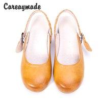 Careaymade-Szef warstwy skóry wołowej czysta ręcznie robione buty, retro sztuki mori dziewczyna buty, płytkie usta sznurowanie retro buty, Żółty i Brązowy