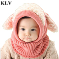 Lovely Baby Kids Girls Boys Warm Coif Hooded Scarf Autumn Winter Knitted Woolen Neckerchief Cute Sheep Ear Scarves Bufanda Aug24