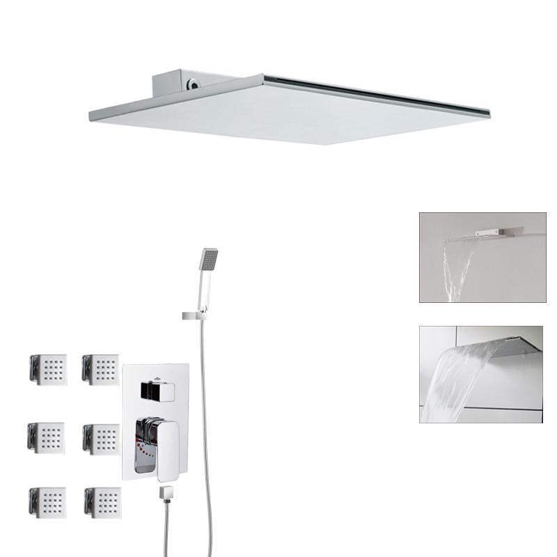 Bathroom Big Waterfall Shower Head Brass Hot Cold Shower Faucets Set Spray Body Jets Massage Chrome Shower Rainfall Showers Set