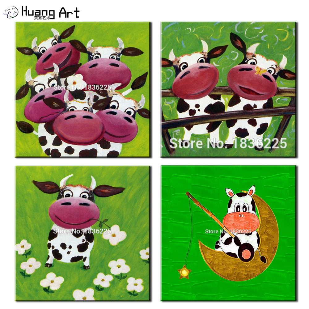Handmade bulk items Funny animals cow wall stickers Wall Picture on Canvas oil painting for living room kids home decor