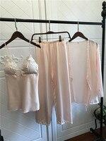 QWEEK Satin Pyjamas Frauen 3 Stück Pyjamas für Frauen Homewear Elegante Sleepwear Weiblichen Spitze Silk Pyjamas Mit Brustpolster