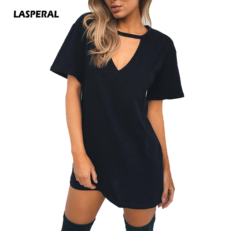 Lasperal Summer T Shirt Dress 2017 Women Deep V Neck Short